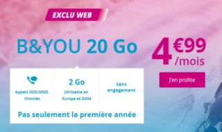 Bon plan : le forfait B&You 20 Go sans engagement est à 4,99 € à vie