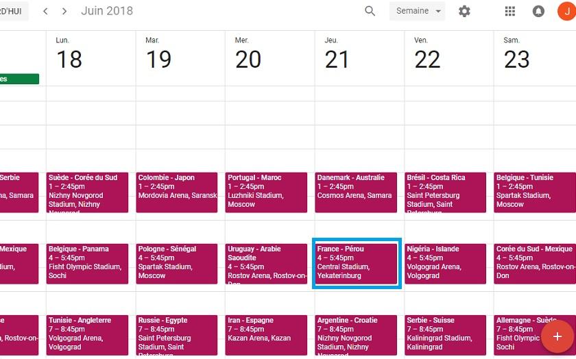 Coupe du monde 2018 comment ajouter le calendrier complet dans google agenda - Coupe du monde 2015 calendrier ...