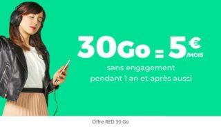 Bon plan SFR : retour du forfait RED 30 Go sans engagement à 5 € par mois à vie