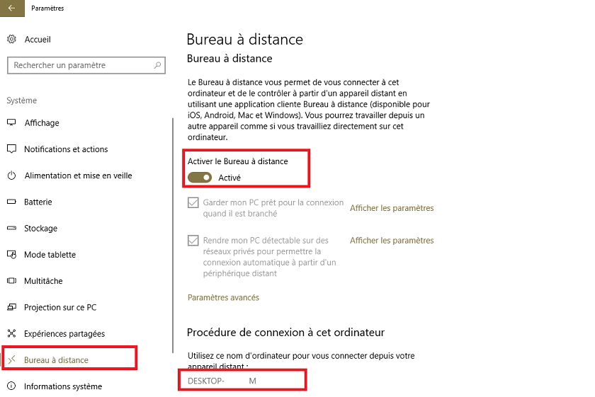 Activer bureau distance Windows 10