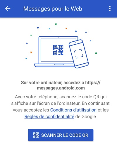 Android messages code QR