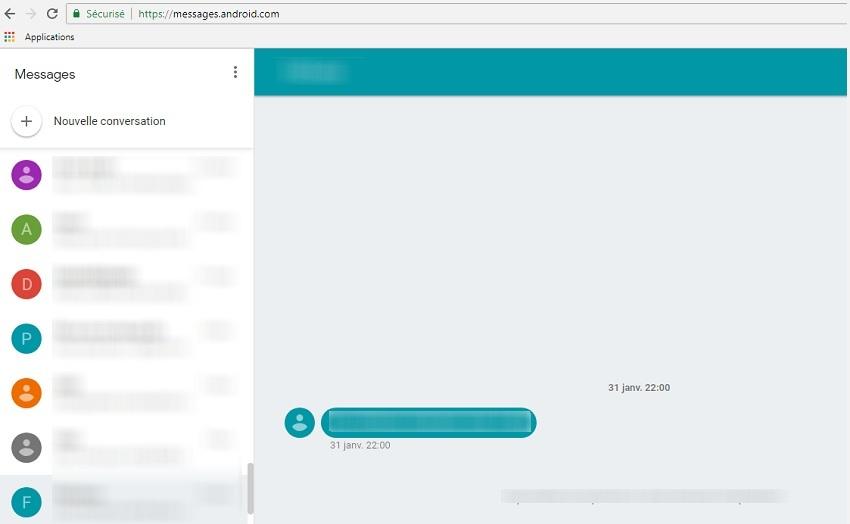 Android messages pour le web sur pc