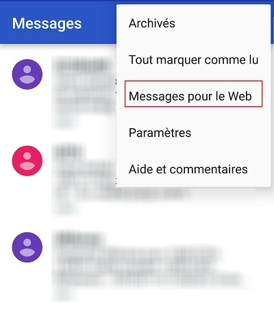 Android messages sur PC
