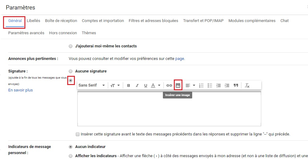 Créer signature Gmail