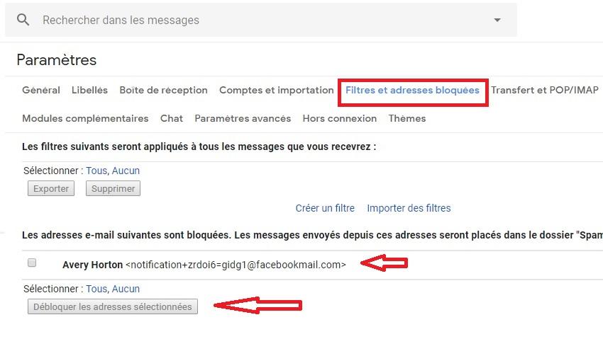 Gmail débloquer adresse