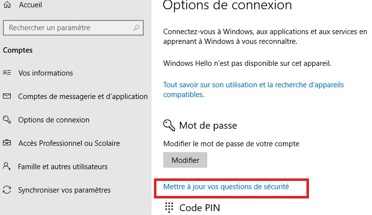 Mot de passe oublié Windows 10