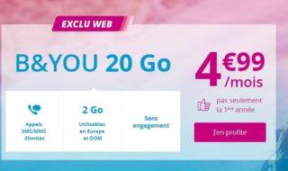 Promo B&You : forfait 20 Go à 4,99€ par mois sans engagement et pas seulement la 1ère année