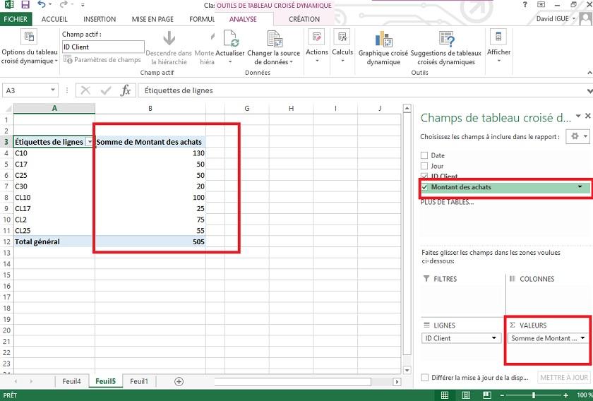 Insertion de a colonne valeur dans un tableau dynamique croisé Excel