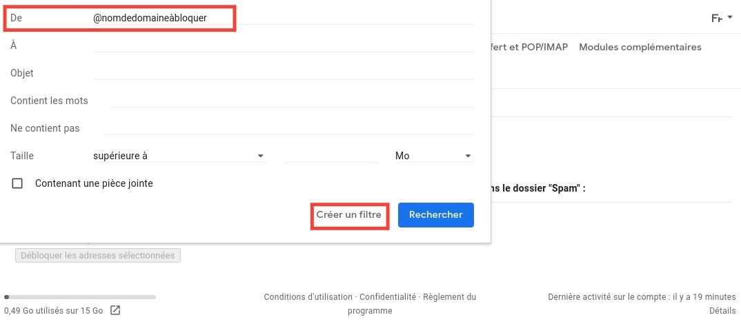 Gmail: domain name filter