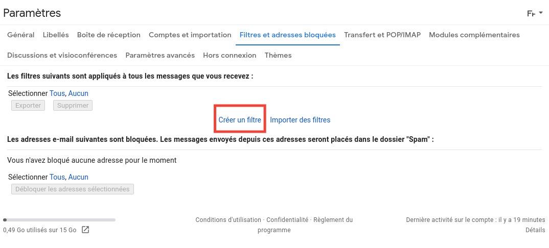 Gmail: create a filter