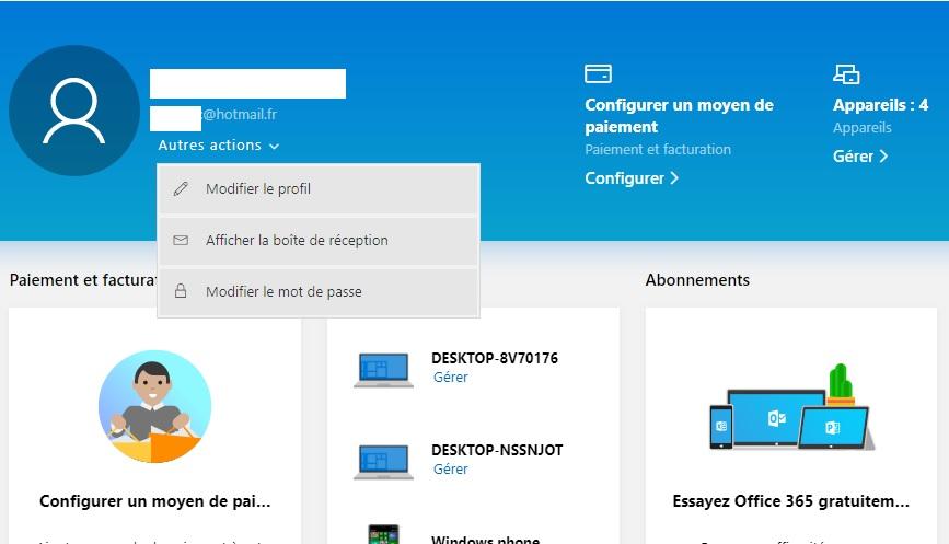 Modifier mot passe Microsoft