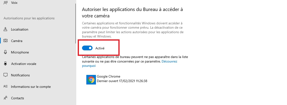 Disable webcam for non-universal applications