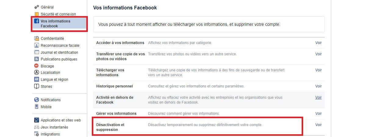 Facebook : comment désactiver ou supprimer un compte