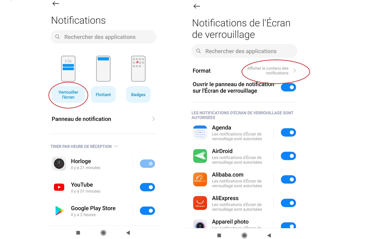 Masquer contenu des notifications Android