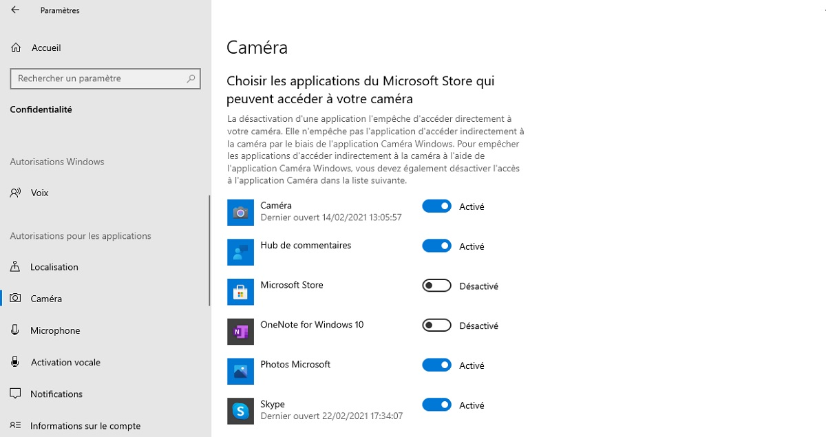 Windows 10: disable access to the webcam for each application