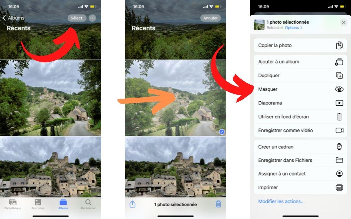 Masquer photo image sur iPhone