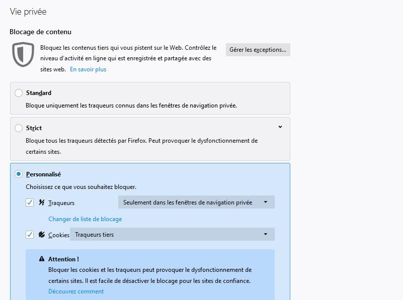 Firefox vie privée
