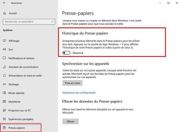 Presse-papier Windows 10