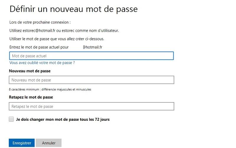 Changer de mot de passe Outlook