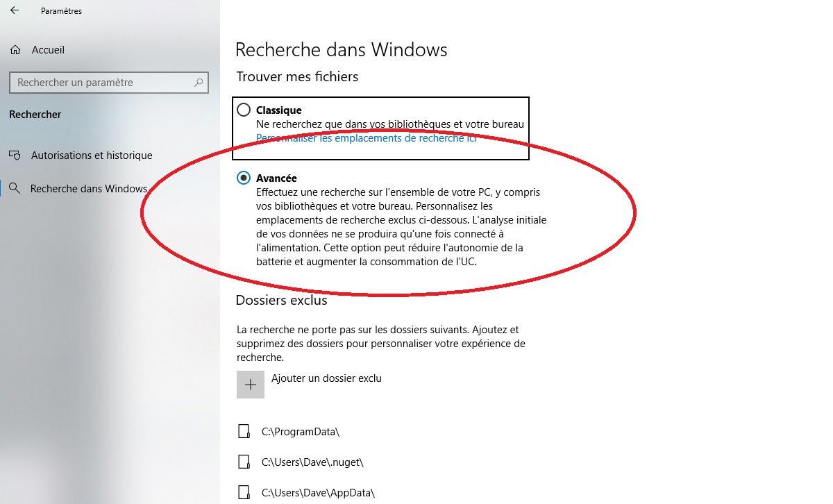 Modifier les emplacements de recherche Windows 10