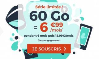 Forfait Cdiscount Mobile 60 Go à 6,99 € par mois pendant 6 mois (sans engagement)