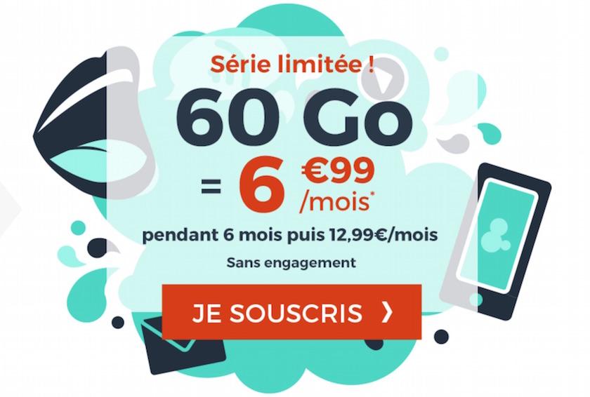 Forfait Cdiscount Mobile 60 Go à 6,99 €