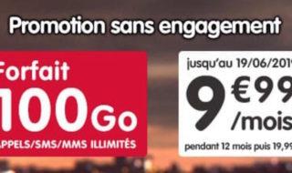 Forfait NRJ Mobile 100 Go à 9,99 € par mois pendant 12 mois (sans engagement)