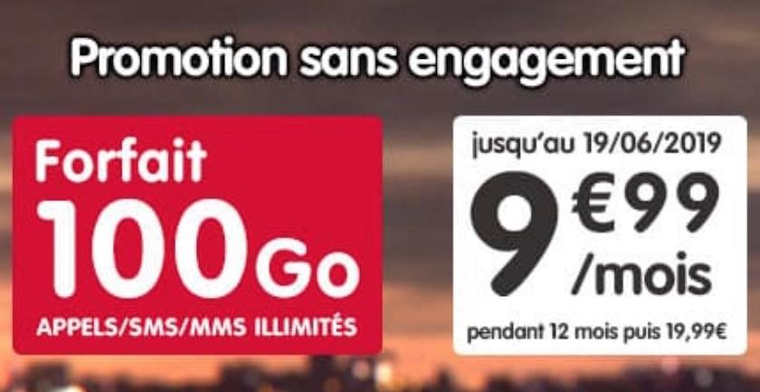 Forfait NRJ Mobile 100 Go à 9,99 €
