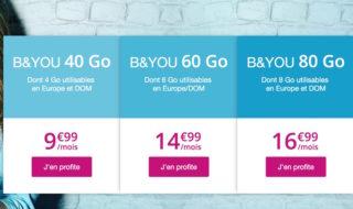Forfait mobile B&You 40 Go à 9,99 € par mois (sans engagement et à vie)