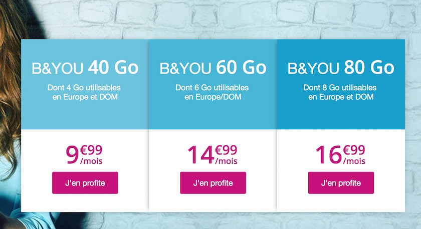 Forfait mobile B&You 40 Go à 9,99 €