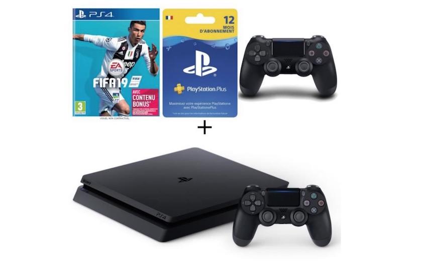 pack PS4 500 Go FIFA 19 abonnement PS Plus 12 mois 2eme manette à 329,99 €