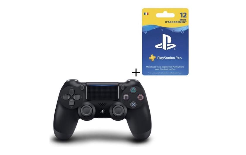 manette PS4 DualShock 4 noire V2 et abonnement PS Plus 12 mois à 75,99 €