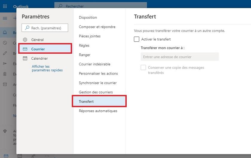 Transfert automatique des emails de Outlook vers Gmail