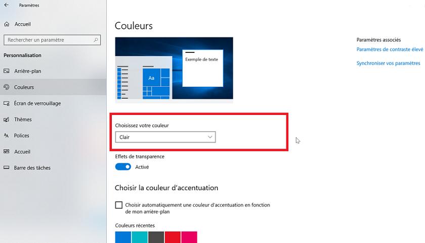 Windows 10 thème clair