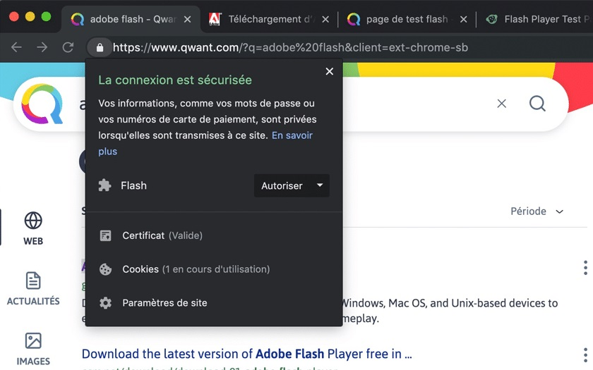 Autoriser Flash sur Chrome