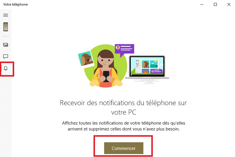 Notifications smartphones sur Windows 10