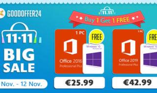 Pour les Singles Day, le site GoodOffer24 offre une licence Windows 10 pour l'achat d'une suite Office