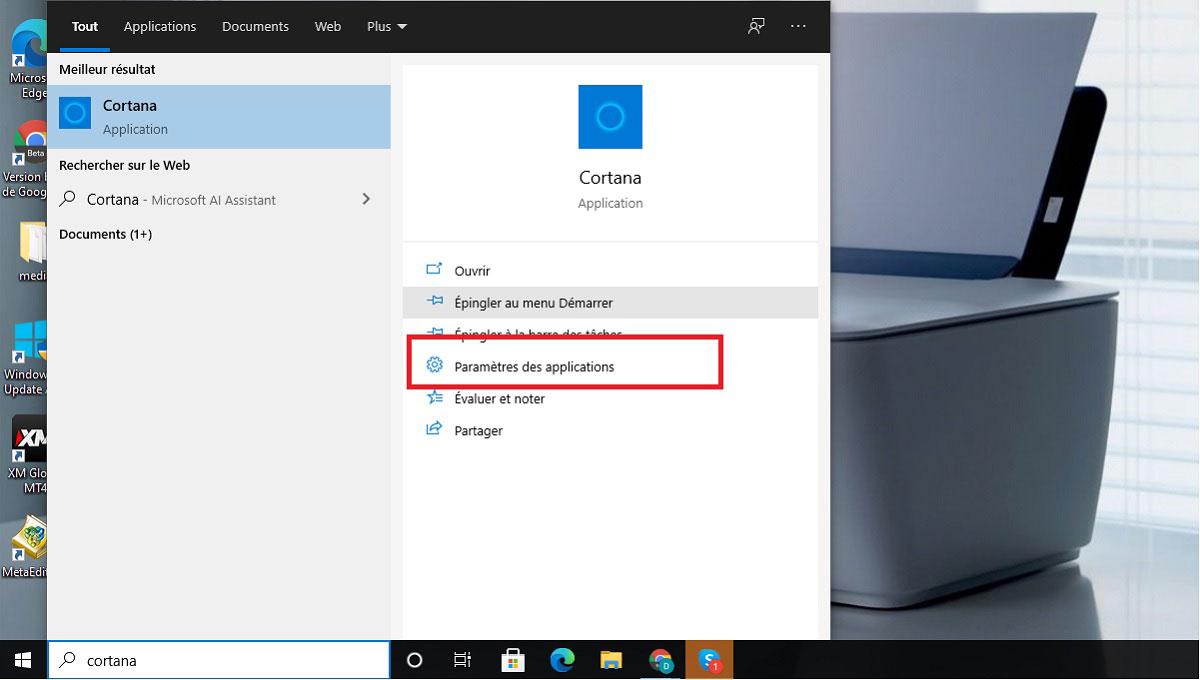 Cortana settings