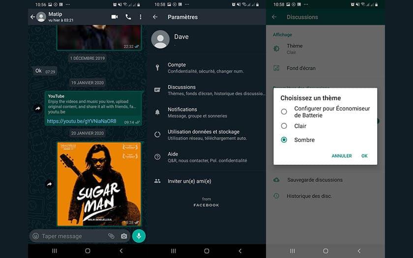 Mode sombre sur WhatsApp