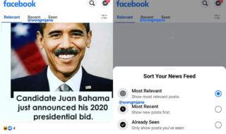 Facebook teste une nouvelle présentation du fil d'actualités avec des onglets