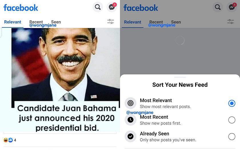 Facebook fil d'actualités