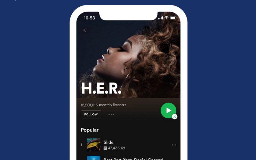 Nouveau design de spotify
