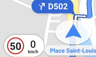 Google Maps : limitation de vitesse