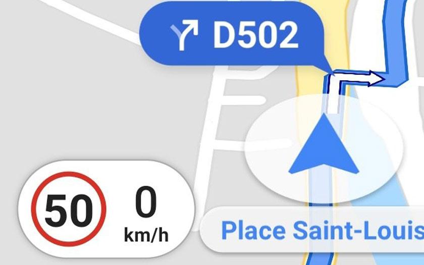 Google Maps : limitation de vitesse