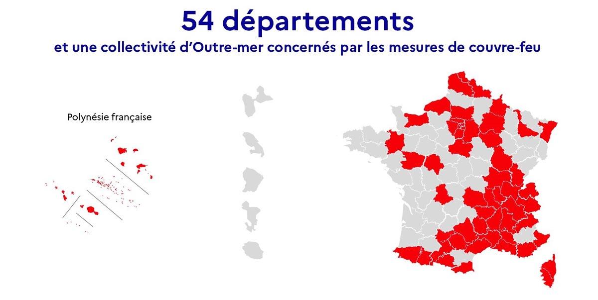 Départements couvre-feu