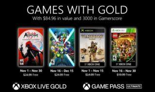 Xbox Games With Gold novembre 2020 : les jeux gratuits du mois