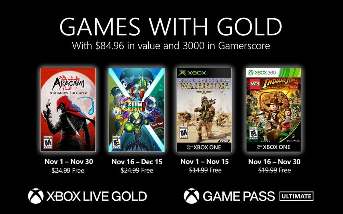 Xbox Games with Gold novembre 2020