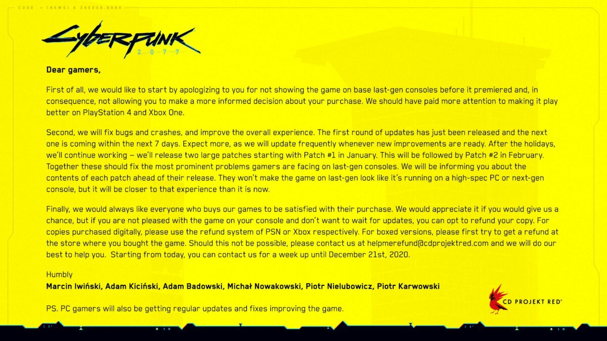 CD Projekt excuses Cyberpunk 2077