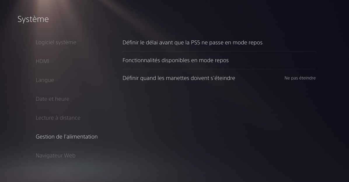 Désactiver mode repos PS5