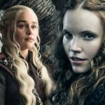 Emilia Clarke et Tamzin Merchant dans Game of Thrones